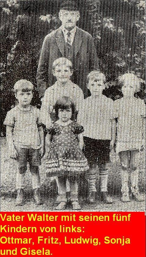 Vater Walter mit seinen 5 Kindern