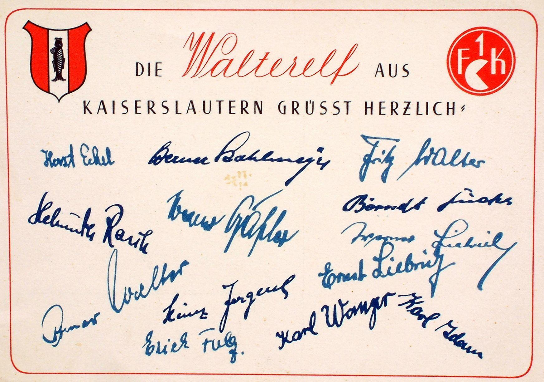 Autogramme des 1. FC Kaiserslautern von 1951