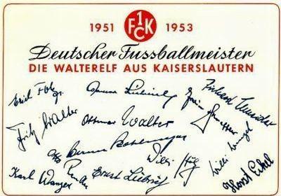 Autogramme des 1. FC Kaiserslautern von 1953
